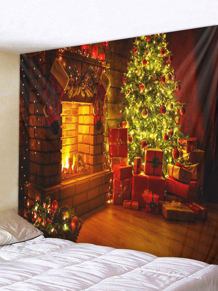Sale Christmas Tree Gifts Fireplace Print Tapestry Wall Hanging Decor