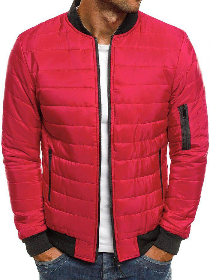 Fashion Solid Color Zipper Pocket Quilted Jacket