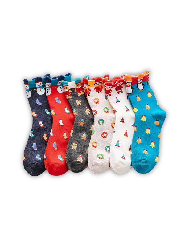 Hot 6Pairs Christmas Snowman Santa Penguin Pattern Socks Set