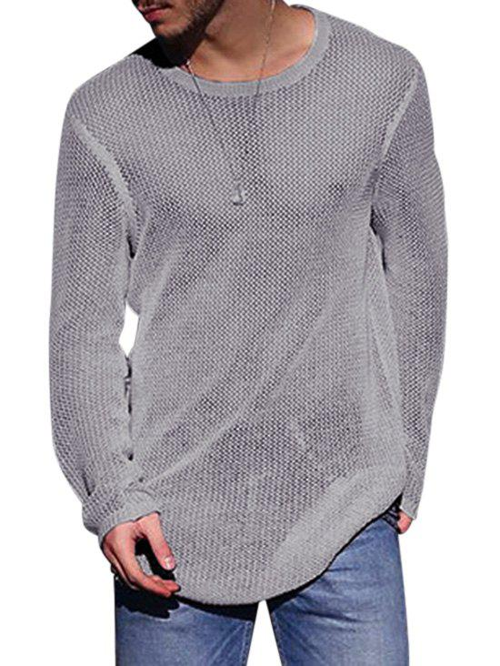 Store Plain Open Knit Pullover Sweater