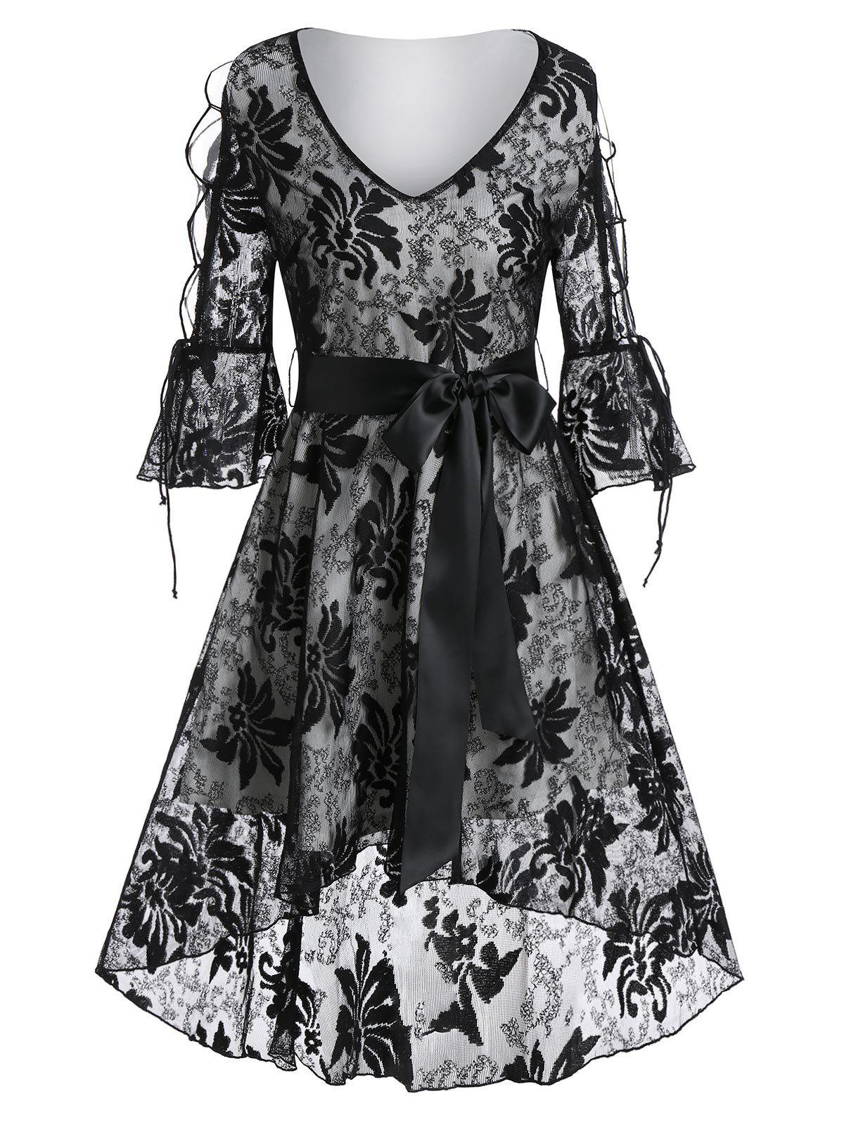 Trendy Poet Sleeve Lace-up Flower Lace High Low Dress