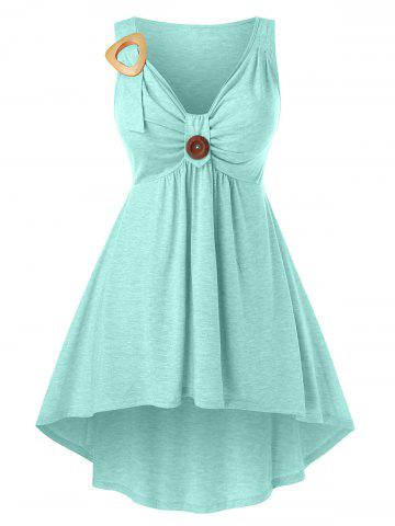 Plus Size High Low Ruched Front Knot Tank Top - PALE BLUE LILY - 2X