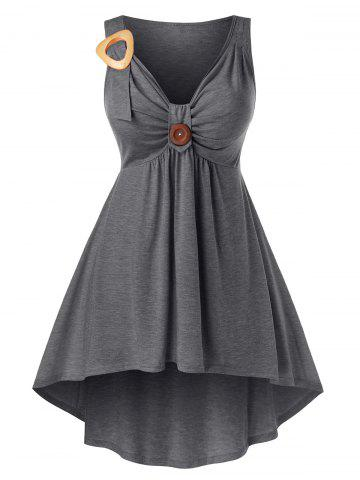 Plus Size High Low Ruched Front Knot Tank Top