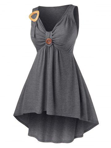 Plus Size High Low Ruched Front Knot Tank Top, Dark gray