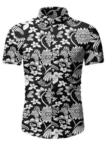 Floral Pattern Button Short Sleeves Shirt
