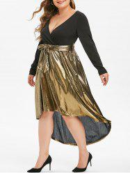 Long Sleeve Gilded Shiny High Low Plus Size Surplice Dress -