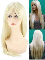 Inclined Bang Long Straight Synthetic Party Wig -