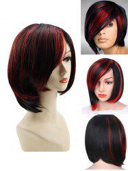 Side Bang Short Colormix Straight Capless Synthetic Wig -