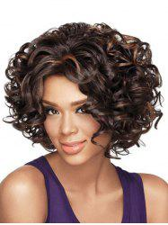 Short Oblique Bang Colormix Shaggy Curly Synthetic Wig -