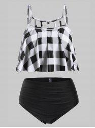 Plus Size Plaid Ladder Cut Tankini Swimsuit -