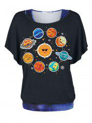 Plus Size Galaxy 3D Print Tank Top and Planet Print T Shirt Twinset -