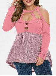Plus Size Tunic High Low Open Shoulder T Shirt -