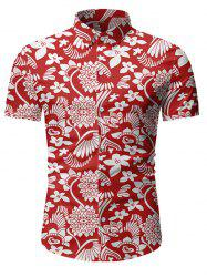 Floral Pattern Button Short Sleeves Shirt -