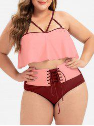 Plus Size Strappy Flounce Lace-up Bikini Swimsuit -