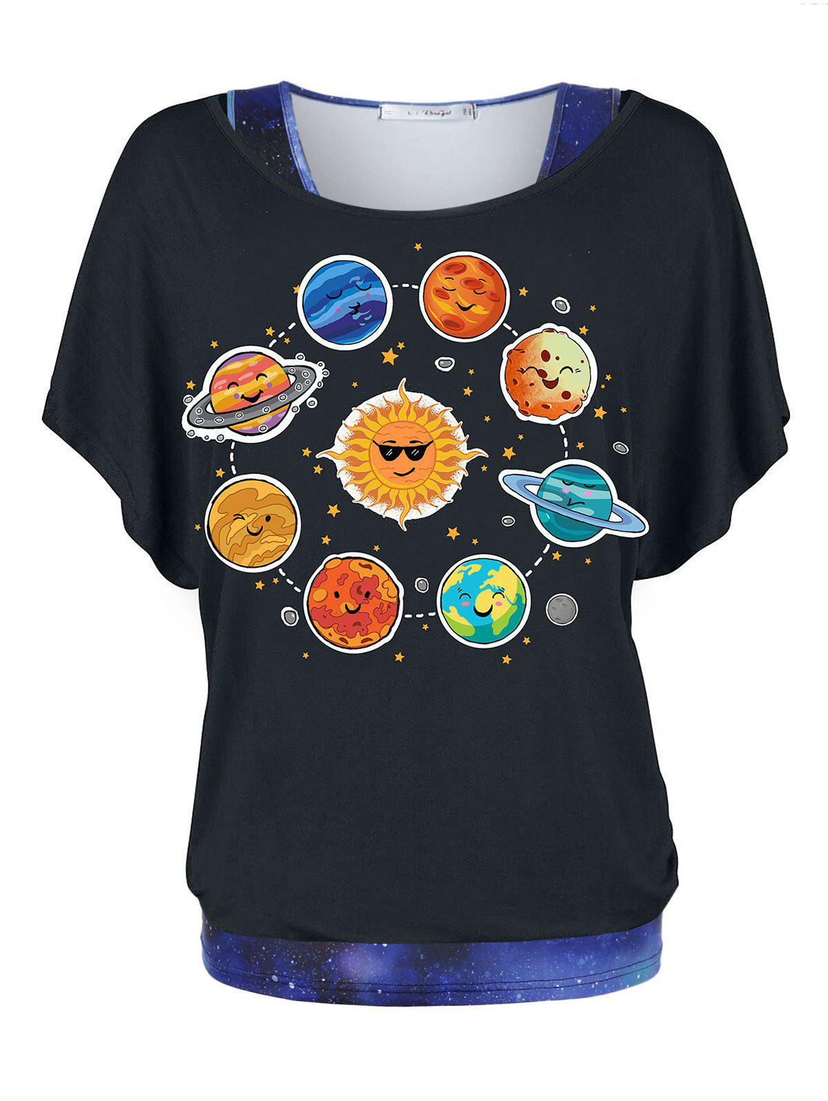 Sale Plus Size Galaxy 3D Print Tank Top and Planet Print T Shirt Twinset