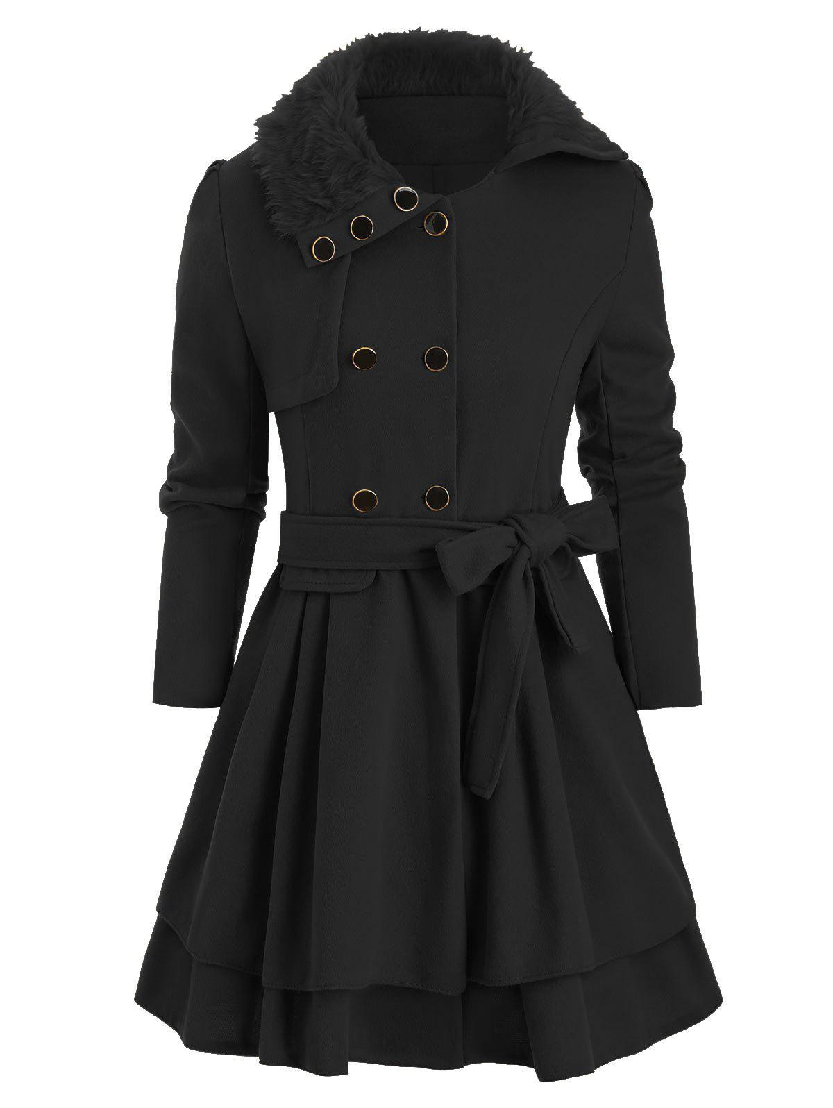 Outfits Faux Fur Collar Double Breasted Belted Wool Blend Coat