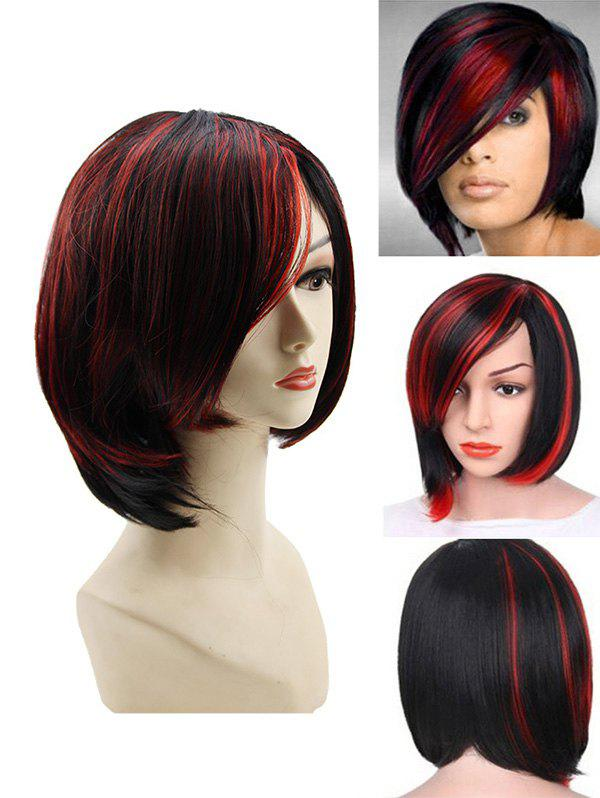 New Side Bang Short Colormix Straight Capless Synthetic Wig