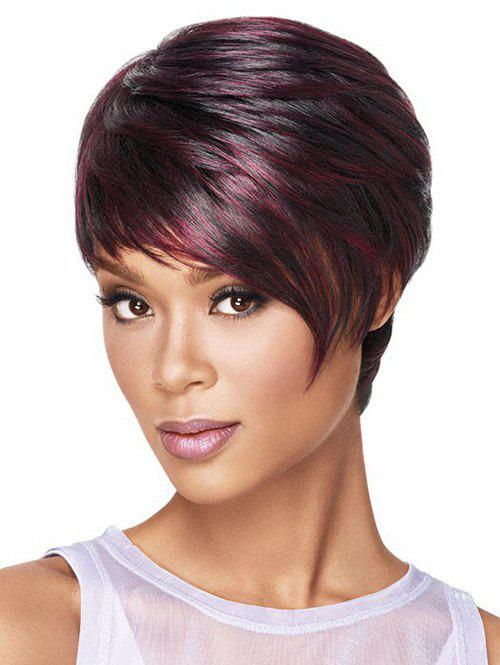 Cheap Oblique Fringe Short Colormix Straight Synthetic Wig