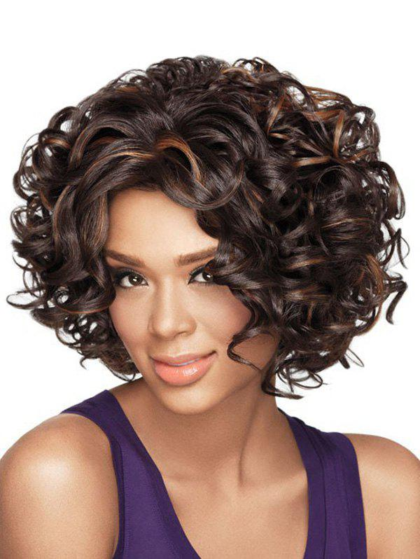 Trendy Short Oblique Bang Colormix Shaggy Curly Synthetic Wig