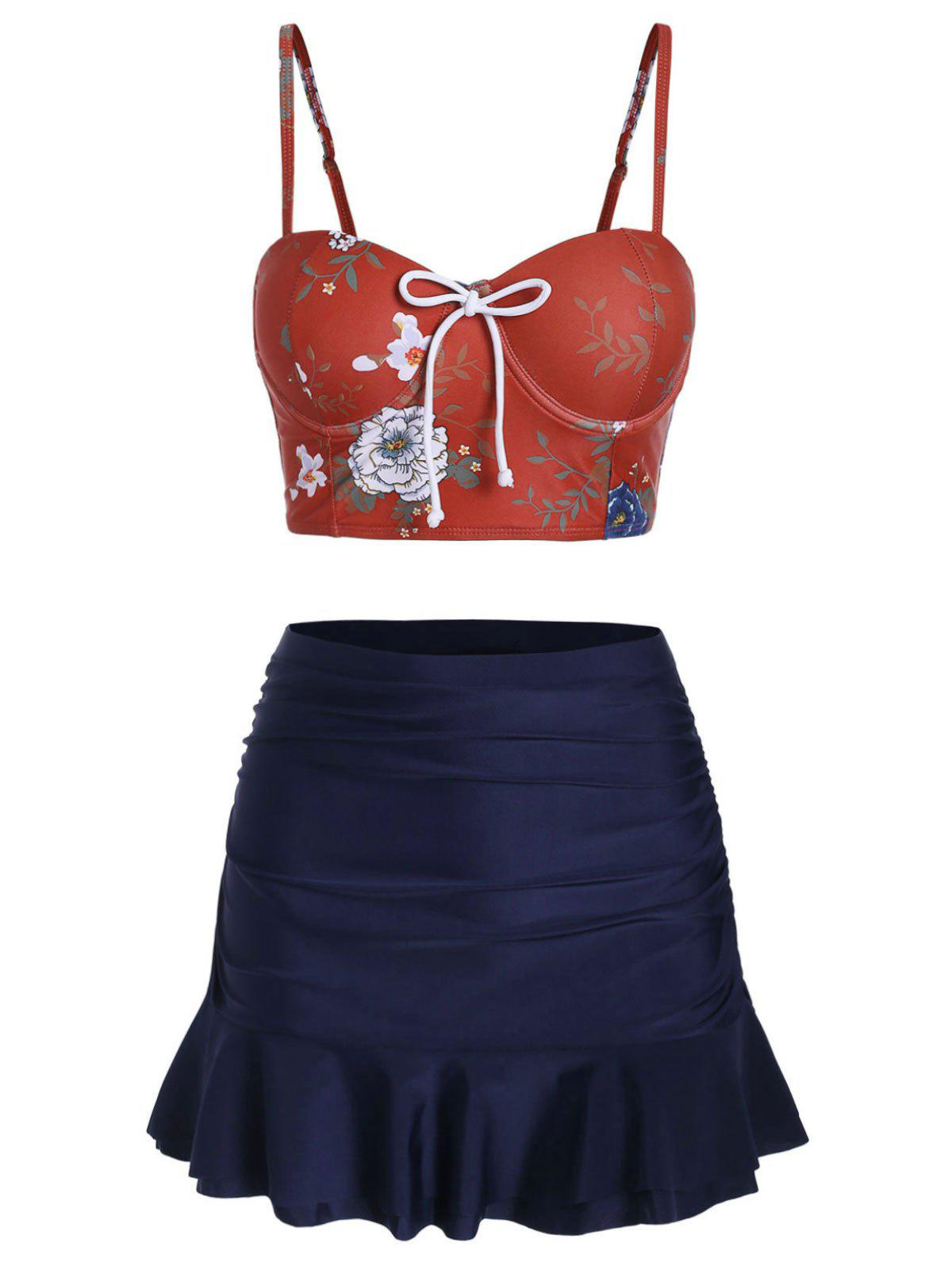 Discount Floral Knotted Skirted Tankini Set