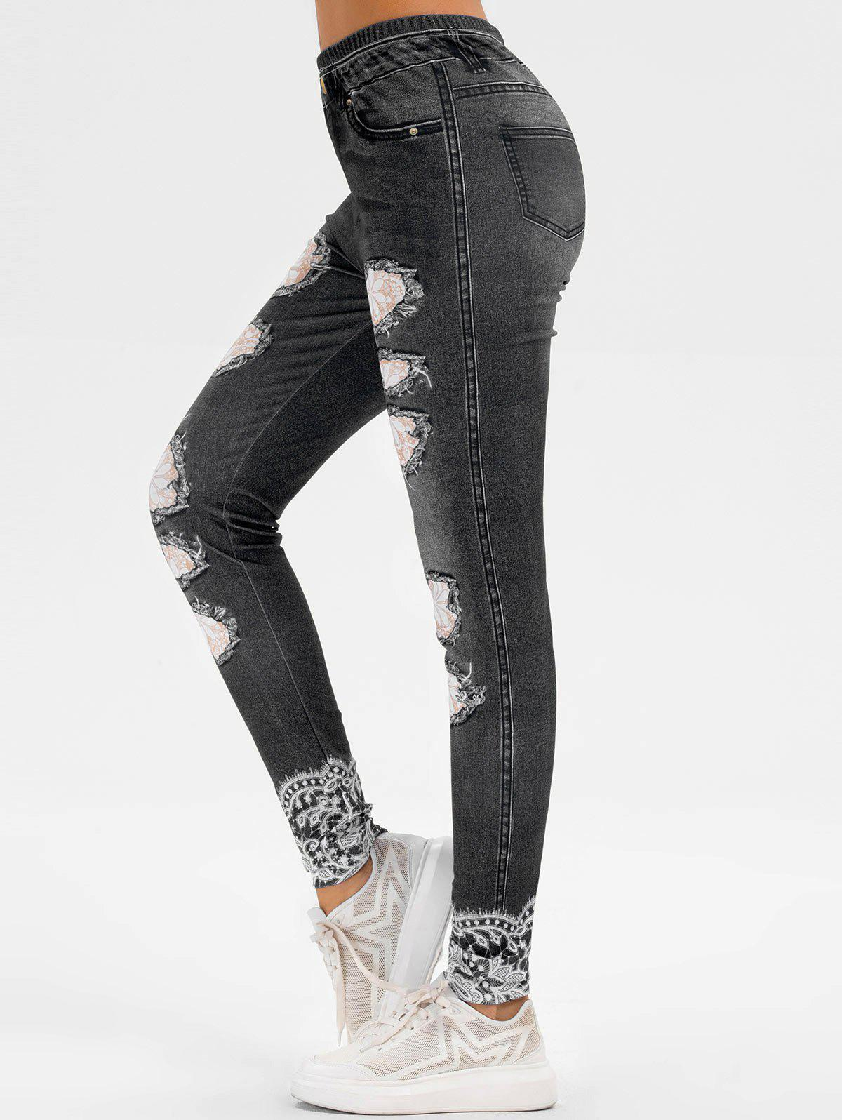 Outfits Floral Print Skinny Jeggings