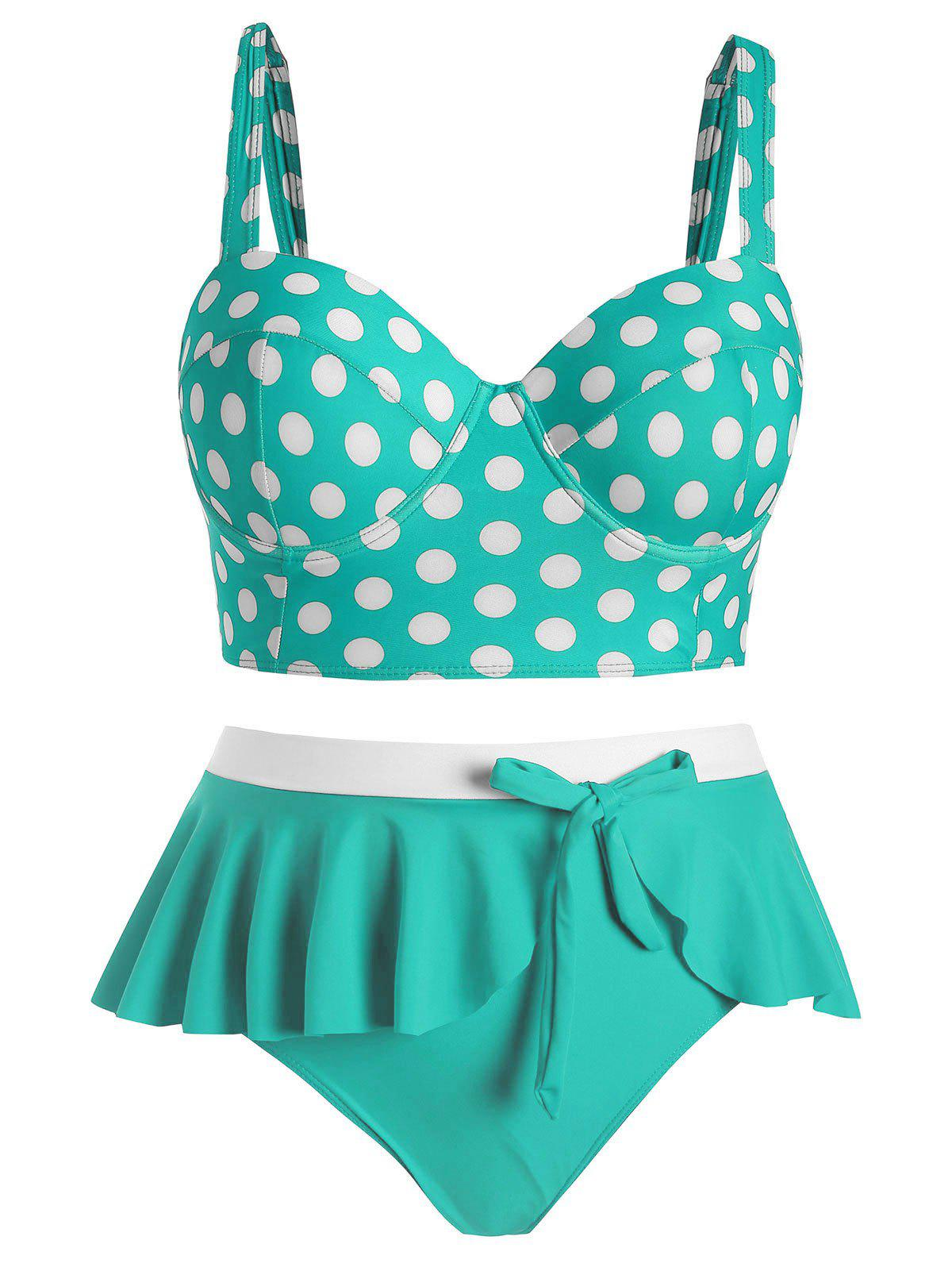 Discount Plus Size Underwire Polka Dot Flounce Tankini Swimsuit