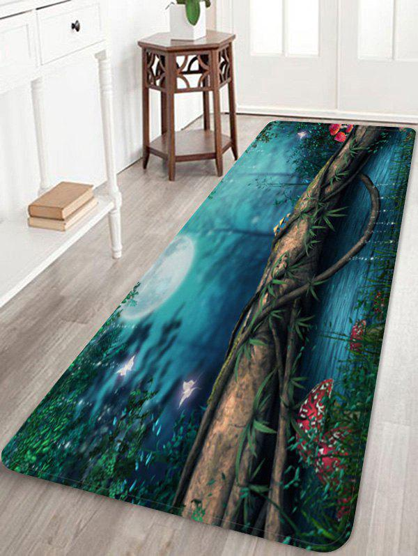 Affordable Moon Night Forest River Pattern Water Absorption Area Rug