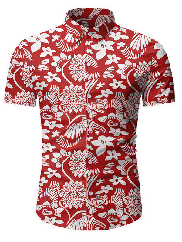 Sale Floral Pattern Button Short Sleeves Shirt