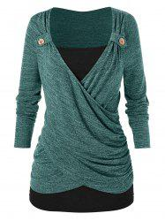 Plus Size Ruched Cross Front T Shirt -