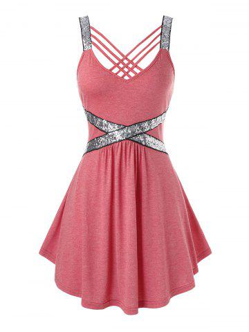 Plus Size Sequins Strappy Tank Top