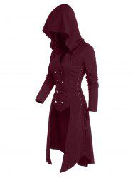 Hooded Button Up Lace-up High Low Steampunk Coat -