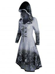 Tree Root Print Hooded Lace-up High Low Dress -