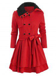 Faux Fur Collar Double Breasted Belted Wool Blend Coat -