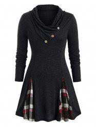 Plus Size Plaid Cowl Neck Tunic T Shirt -
