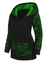 Skull Graphic Lace Panel Zip Up Hoodie -