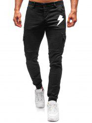 Lightning Pattern Zip Fly Casual Pants -