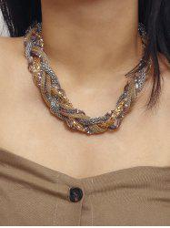Braided Chain Beaded Chunky Necklace -