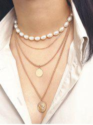 Oval Faux Pearl Angel Multilayered Necklace -