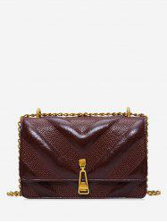 Leather Square Chain Zipper Decorated Shoulder Bag -