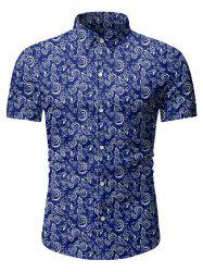 Floral Print Button Short Sleeves Shirt -
