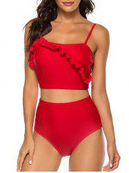 Ruffles Solid High Waist Tankini Set -