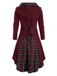Plaid Hooded Horn Button Lace Up Dip Hem Cardigan -