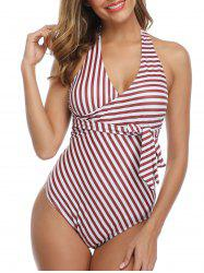 Striped Knotted Surplice One-piece Swimsuit -