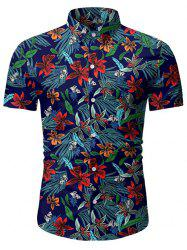 Leaf Floral Pattern Short Sleeves Casual Shirt -