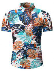 Leaf Pattern Short Sleeves Casual Shirt -
