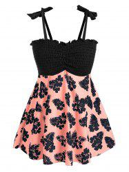 Plus Size Floral Print Smocked Tankini Swimsuit -