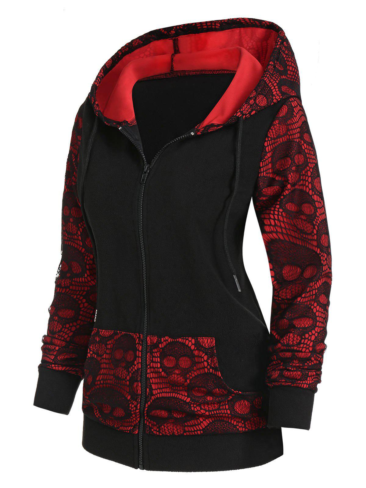 Fashion Skull Graphic Lace Panel Zip Up Hoodie
