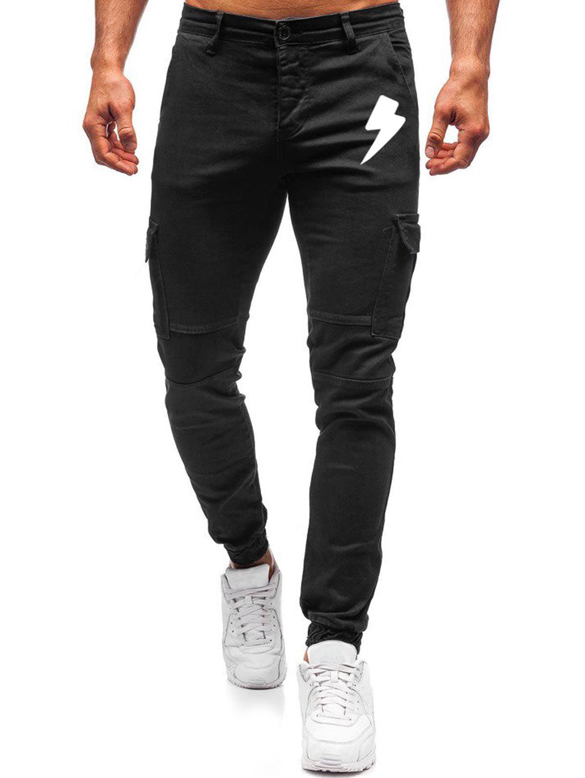 Online Lightning Pattern Zip Fly Casual Pants
