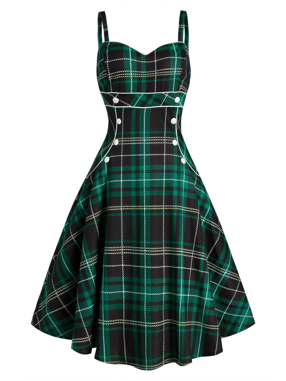 Discount Plaid Button Embellished Sleeveless Rockabilly Style Dress
