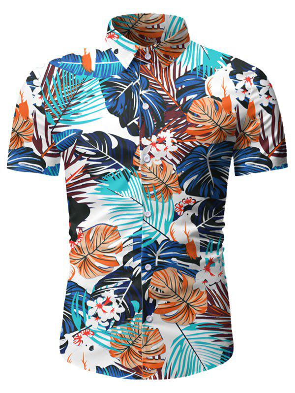 Fancy Leaf Pattern Short Sleeves Casual Shirt